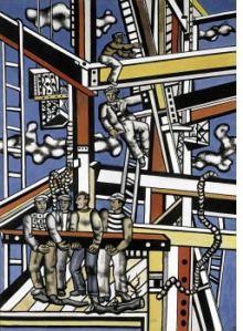 pintura de hombres construyendo